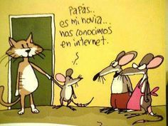 Humor in Spanish: Parents...she's my girlfriend...we met on the Internet. #chistes #Jokes