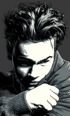 this grayscale vector portrait shows immense detail through shadows.  The shadows are accurate and realistic.  The hair is spot on and the emotion on this composition conveys is undoubtedly overwhelming.