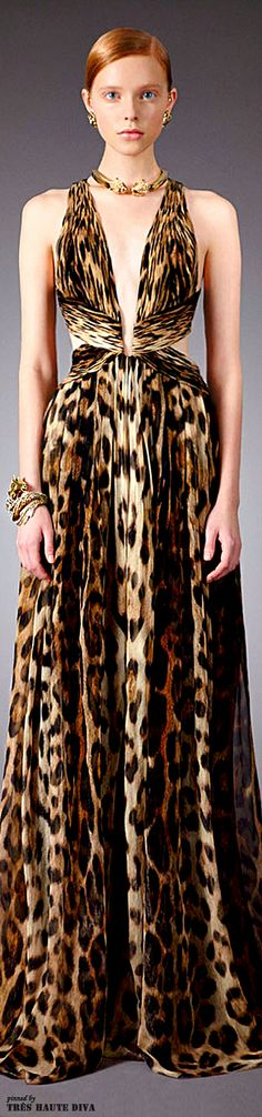 Roberto Cavalli Pre-Fall 2014. Everything I love. Leopard print. Plunging neckline. If this dress has pockets I'd never take it off.