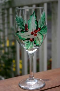 Holly Leaf Hand Painted Wine Glass