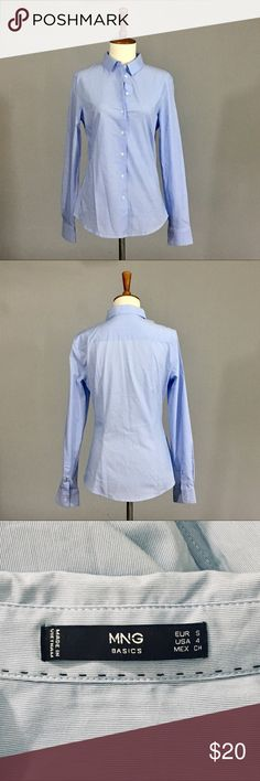 """New Light Blue MNG Button-down New without tags. Light blue MNG button-down shirt in size 4. Bust is 36"""" and length is 25"""". 69% cotton/28% polyester/3% elastane. Mango Tops Button Down Shirts"""