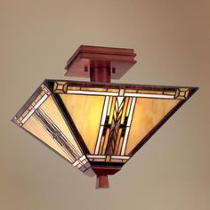 """Walnut Mission Collection 14"""" Wide Ceiling Light Fixture $99"""