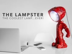 A customizable robo lamp with 2 LED light sources, one RGB controlled by mobile and a clear one controlled by touch! #Lampster