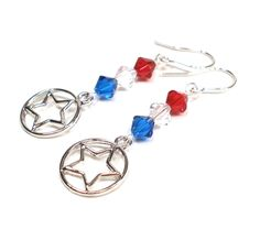 Fourth of July Earrings, Patriotic Jewelry, Red White and Blue Crystal and Star Earrings