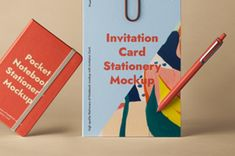 A high quality psd notebook mockup and paper mockup branding stationery set to showcase your designs. Easily add any graphics with... Invitation Cards, Invitations, Pouch Packaging, Pocket Notebook, Stationery Set, Letterhead, Mockup, Your Design, Branding
