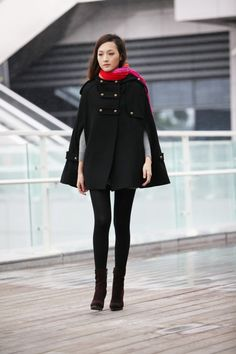 Black Double Breasted Button Hooded Cashmere Women Coat Wool Winter Cape Coat Hood Cloak for Women - NC227