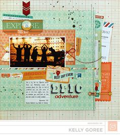 On Trend. A scrapbook layout using Basic Grey paper, Carte Postale. by Kelly Goree