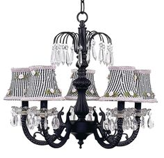 Chic Waterfall Black Chandelier with Check Shades [7047 2255] - $510.00 : The Painted Cottage, Vintage Painted Furniture