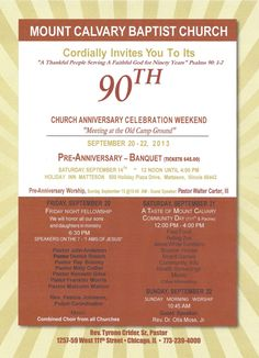 Church anniversary celebration invitation invitation templates mount calvary baptist church rev tyrone crider sr pastor 90th church anniversary celebration weekend september 20 22 2013 featuring walter carter altavistaventures Images