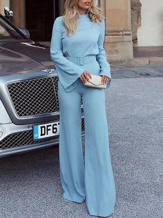 e92283ba8604 Shop High Neck Bell Sleeve Wide Leg Jumpsuit With Belt – Discover sexy  women fashion at IVRose