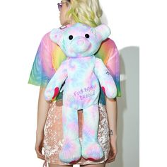 Sugarbaby Scribble Bear Backpack ($32) ❤ liked on Polyvore featuring bags, backpacks, canvas zip bag, canvas bag, heart bag, tie-dye backpacks and canvas daypack