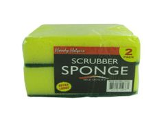 "Scrubber sponge set by handy helpers. $33.84. Material: nylon,foam. Colors: yellow,green. These high quality sponges are a nice compliment to other cleaning tools in the house. Each pack comes with 2 scrubbers. Perfect for kitchens, bathrooms and other cleaning uses. Comes shrink wrapped with label. Scrubbers measure approximately 5 1/4"" x 3 1/2"" x 1 1/2""."