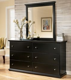 Maribel Casual Black 6 Drawer Dresser and Moulded Landscape Mirror by Signature Design by Ashley - Becker Furniture World - Dresser & Mirror Twin Cities, Minneapolis, St. Paul, Minnesota