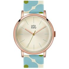 Orla Kiely 'Patricia' Print Leather Strap Watch, 38mm ($135) found on Polyvore featuring women's fashion, jewelry, watches, polish jewelry, orla kiely, brightly watches, dial watches and retro watches