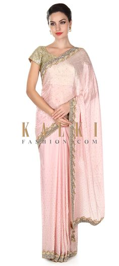 Buy this  Baby pink saree adorn in kundan embroidery only on Kalki