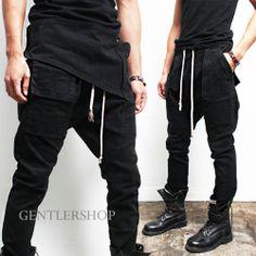 Avant-Garde Mens Fashion Semi Baggy Pocket Black Span Sweatpants, GENTLERSHOP