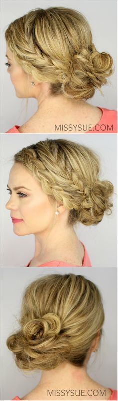 Fishtail and Dutch Braid Messy Bun