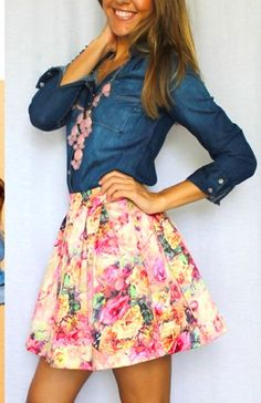 spring skirt and chambray