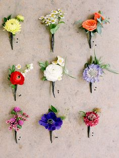 Bring bold colors to your garden glam wedding day with bright, mismatched wedding boutonnieres.