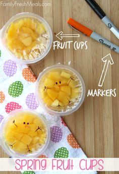 Fun Spring Fruit Cup Snack Idea | FamilyFreshMeals.com