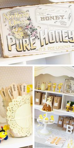 Charming honey & bee party. So many cute ideas for food and decor. This would be cute incorporated with a Winnie the Pooh party.