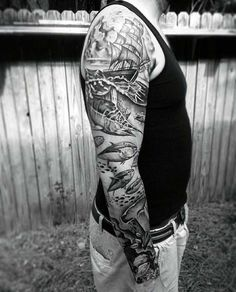 40 Nautical Sleeve Tattoos For Men - Seafaring Ink Deisgn Ideas