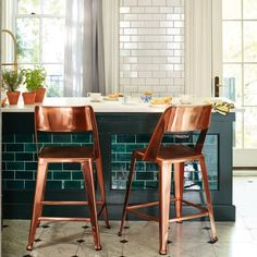 Copper dining chairs make an excellent kitchen brunch spot. Don't you think?
