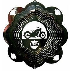 "12"" Motorcycle - Black Starlight Wind Spinner. #motorcycle #windspinner #USA"