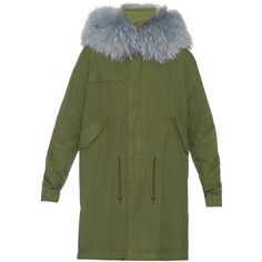 Mr & Mrs Italy Fur-trimmed canvas parka ($1,123) ❤ liked on Polyvore featuring outerwear, coats, fur trim parka, green parkas, canvas parka, green parka coat and parka coat