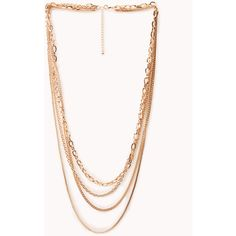 FOREVER 21 Hip Layered Chain Necklace ($6.80) ❤ liked on Polyvore featuring jewelry, necklaces, accessories, gold, multi strand necklace, long gold necklace, layered chain necklace, long chain necklace and multi-chain necklaces