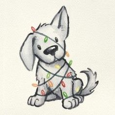 cute puppy dog wrapped in Christmas tree lights, hand painted and drawn watercol. - Christmas Illustration - Puppies christmas cute puppy dog wrapped in Christmas tree lights, hand painted and drawn watercol… – Christmas Illustration - Water Art Drawings Sketches, Easy Drawings, Animal Drawings, Funny Sketches, Dog Drawings, Watercolor Christmas Cards, Christmas Drawing, Christmas Sketch, Christmas Puppy
