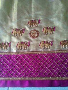 To order pls WhatsApp on 9703713779 Saree Blouse Neck Designs, Bridal Blouse Designs, Embroidery Suits, Embroidery Designs, Hand Embroidery, Stylish Blouse Design, Designer Blouse Patterns, Elephant Design, Work Blouse
