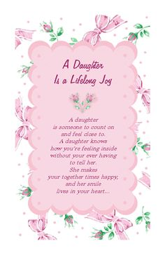 A Daughter Is Joy Birthday Printable Cards Quotes For To Print