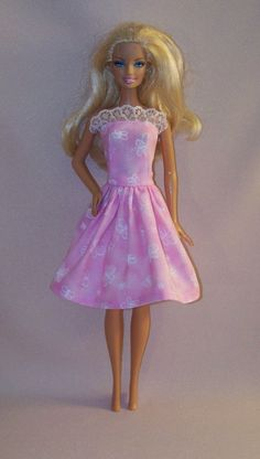 Handmade Barbie Doll Clothes Pink Print with by PersnicketyGrandma, $4.00