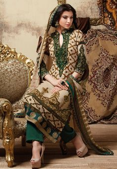 Beige Art Pashmina Trouser Suit Online Shopping: KWY673