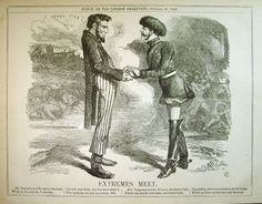 At the point of maximum war danger between Great Britain and the United States, the London satirical publication Punch published a vicious caricature of US President Abraham Lincoln and Russian Tsar Alexander II,.