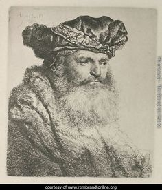 A bearded Man in a Velvet Cap with a Jewel Clasp - Rembrandt Reproduction
