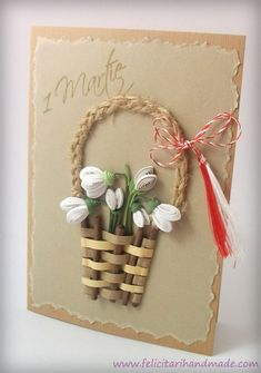 Felicitare de 1 Martie cu ghiocei quilling în coșuleț împletit / Springtime quilling card with snowdrops in a weaved basket Paper Quilling Cards, Neli Quilling, Quilling Craft, Quilling Flowers, Quilling Patterns, Quilling Designs, Paper Flowers, Diy And Crafts, Crafts For Kids