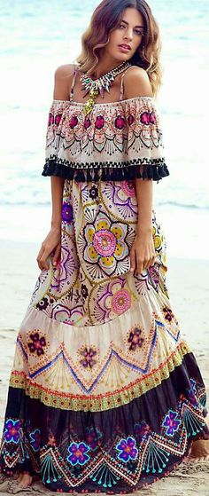 Mexican multi color maxi caftan dress with statement necklace