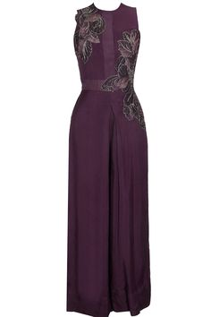 Wine leaf embroidered double layered jumpsuit available only at Pernia's Pop Up Shop.