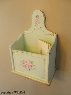 File Box painting original ooak antique mint green wooden file; by 4WitsEnd via Etsy