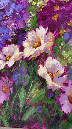 Wild Garden Daisies can find Daisies and more on our website. Lilac Painting, Acrylic Painting Flowers, Garden Painting, Abstract Flowers, Watercolor Flowers, Garden Drawing, Drawing Flowers, Small Canvas Art, Online Painting