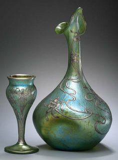 Loetz Art Nouveau Vase  c. 1900   Glass and silver. The Anderson Collection.