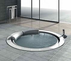 Sunk-in soaking tub