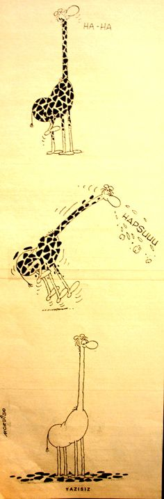 OĞUZ TOPOĞLU : zürafa hapşu 1970 senesi nostaljik eski karikatürl...