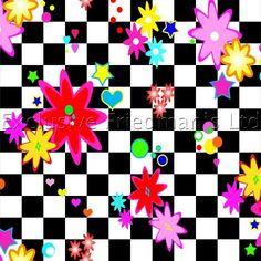 RO193 Chequered Flower | Printed Lycra Fabric | Printed Fabric | Stretch Fabric | Funki Fabrics | 70s Inspired