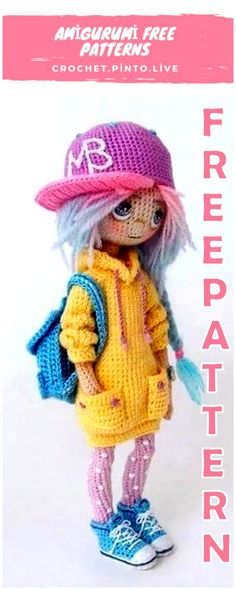 Amigurumi Doll with Hat Free Crochet Pattern - Amigurumi Free Patterns # crochet baby patterns free girl Crochet Patterns Amigurumi, Amigurumi Doll, Crochet Toys, Free Crochet, Crochet Dolls Free Patterns, Crochet Doll Pattern, Knitting Patterns, Knitting Designs, Easy Knitting Projects