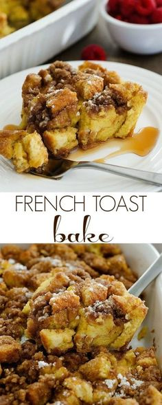 french toast bake is so easy to make and tastes amazing!This french toast bake is so easy to make and tastes amazing! Baked Breakfast Recipes, Breakfast Bake, Breakfast For Dinner, Breakfast Dishes, Best Breakfast, Brunch Recipes, Breakfast Ideas, Dinner Dessert, Breakfast Healthy