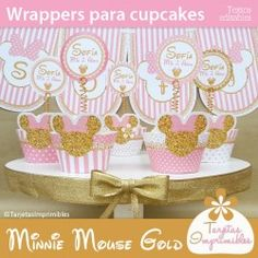 Minnie Mouse Gold wrappers para cupcakes