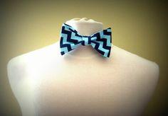 Navy Blue and Aqua Chevron Freestyle Bow Tie by PillowTalkbyShanna, $21.00